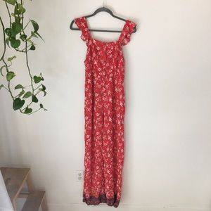Red Floral Jumpsuit Front Buttons Nursing Friendly